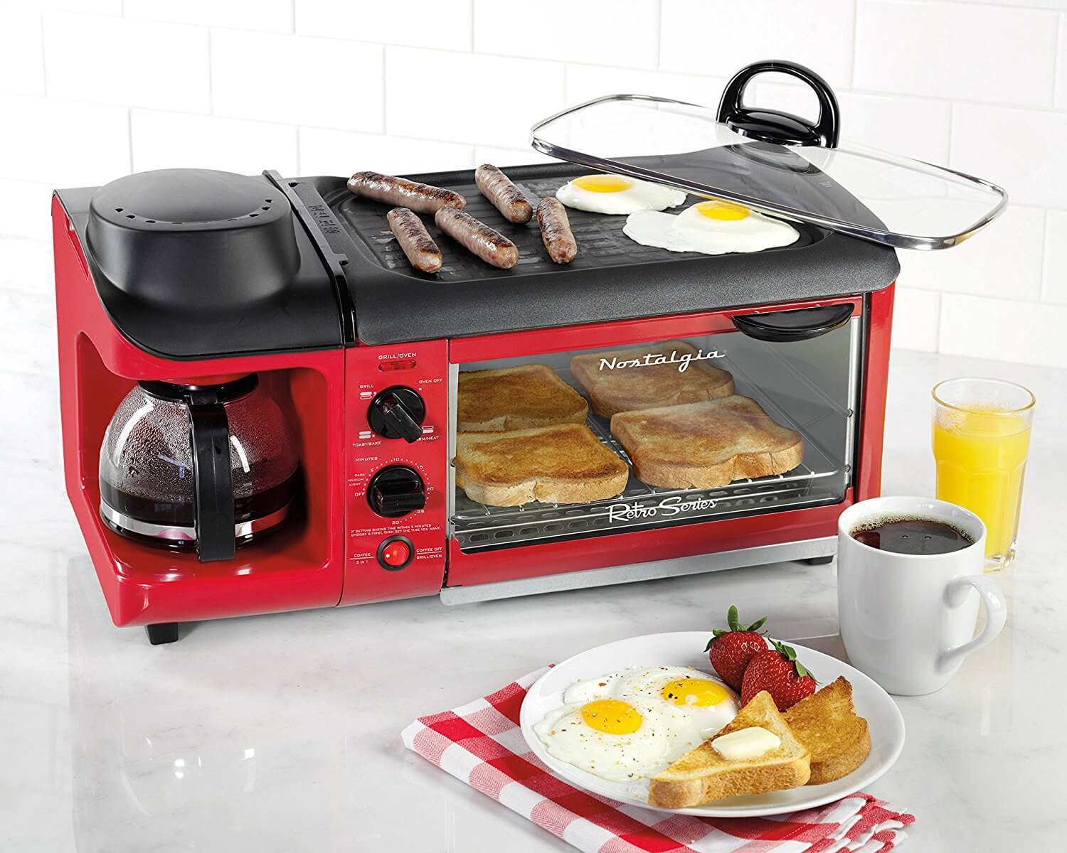 Nostalgia BSET300RETRORED Retro Series 3-in-1 Family Size Breakfast Station